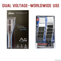 Oster A6 Dual Voltage 3-Speeds Professional Animal Dog Clipper & Attachment Combs Set