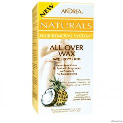 Andrea Naturals Hair Removal System All Over Wax Face. Body. Legs Coconut & Pineapple - 4 oz